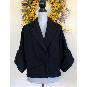 Alice Olivia Black Wool Felted Coat Jacket